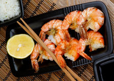 Asian Style Roasted Shrimps Stock Photos