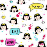 Asian style seamless pattern with anime emoticons girl Stock Photography