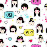 Asian style seamless pattern with anime emoticons girls Stock Photos