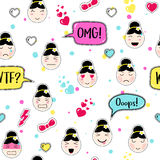 Asian style seamless pattern with anime emoticons girls Stock Photography