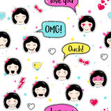 Asian style seamless pattern with anime emoticons girls Stock Image