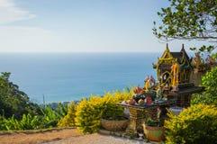 Asian style spirit house in Thailand. Phuket. Sea landscape view Royalty Free Stock Photos