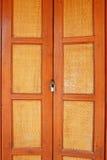 Asian style wooden door with lock Stock Photos