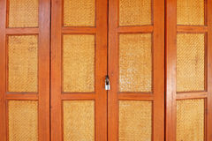 Asian style wooden door with lock Stock Photography
