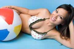 Asian Summer Girl. Asian beach ball summer girl Royalty Free Stock Image