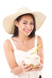 Asian summer woman giving coconut juice Royalty Free Stock Photos