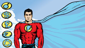 Asian Superhero with flowing cape. Asian Superhero where any text or image can be put on flowing cape. With .eps, crests are on a separate layer, and can be Royalty Free Stock Images