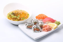 Asian sushi lunch. Miso soup and sushi set, asian lunch Royalty Free Stock Photo