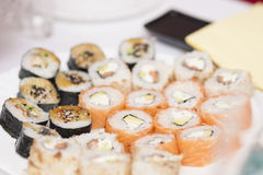 Asian sushi rolls on plate Stock Image