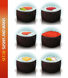 Asian Sushis And Makis Set Royalty Free Stock Photo