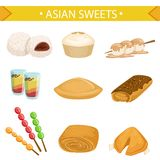 Asian Sweets Famous Dishes Illustration Set Stock Images