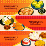 Asian Sweets Horizontal Banners Set Royalty Free Stock Photo