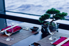 Asian Table Setting by Ocean View Royalty Free Stock Image