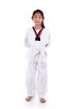 Asian taekwondo girl on with background.. Stock Photo