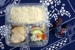 Asian take out, Chicken rice stock photography