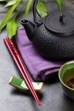 Asian tea bowl and teapot Stock Image