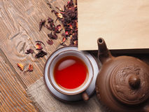 Asian tea clay set on wooden background.  Royalty Free Stock Photo