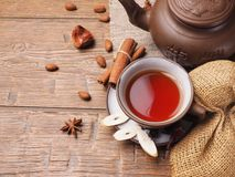 Asian tea clay set on wooden background.  Stock Images