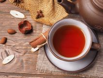 Asian tea clay set on wooden background.  Royalty Free Stock Photography