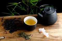 Asian tea set on bamboo Royalty Free Stock Photo