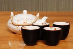 Asian Tea Set Focus On Front Cups Stock Image