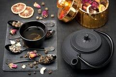 Asian tea set Green tea Royalty Free Stock Images