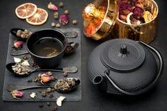 Asian tea set Green tea Stock Photo