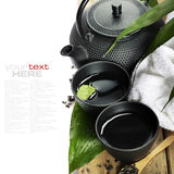 Asian tea set and spa settings Stock Photography