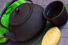 Asian tea set and spa settings Stock Photo