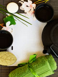 Asian tea set and spa settings Royalty Free Stock Photo