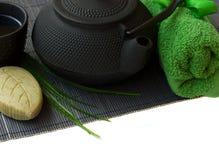 Asian tea set and spa settings Stock Images