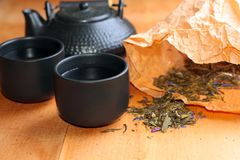 Asian tea set on table,Closeup. Stock Photography