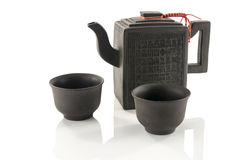 Asian teapot and two cups Royalty Free Stock Photo