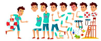 Asian Teen Boy Vector. Lifeguard On The Beach. Animation Creation Set. Face Emotions, Gestures. Caucasian, Positive. Animated. For Banner, Flyer Web Design royalty free illustration