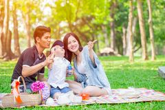 Free Asian Teen Family One Kid Happy Holiday Picnic Moment In The Park Stock Image - 117851241