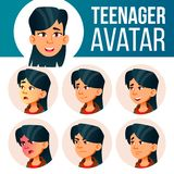 Asian Teen Girl Avatar Set Vector. Face Emotions. User, Character. Fun, Cheerful. Cartoon Head Illustration. Asian Teen Girl Avatar Set Vector. Face Emotions vector illustration