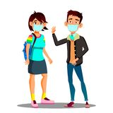 Asian Teen Girl, Boy Wearing A Face Mask In The City Coughing Vector. Isolated Cartoon Illustration vector illustration