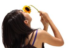 Asian teen girl smell flower Royalty Free Stock Photo