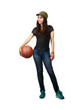 Asian teen girl standing with basketball. Isolated over white stock photos