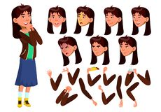 Free Asian Teen Girl Vector. Teenager. Positive Person. Face. Children. Face Emotions, Various Gestures. Animation Creation Royalty Free Stock Photos - 133111368