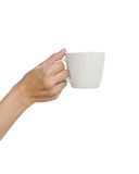 Asian teen hand and coffee cup. Royalty Free Stock Images