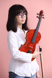 Asian teen with violin glasses Royalty Free Stock Photography
