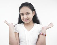 Asian teenage girl with outstretched palms Stock Images