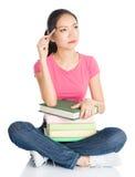 Asian teenage girl student thinking Stock Photos