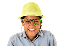 An Asian teenage girl wearing green fedora hat and funny glasses Royalty Free Stock Photos