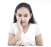 Asian teenage girl whispering Stock Images