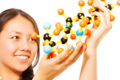 Asian teenage student with molecular model Royalty Free Stock Photo