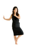 Asian teenager in black skirt isolated Stock Photography