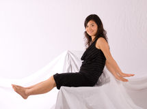 Asian teenager in black skirt isolated Royalty Free Stock Photography