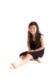 Asian teenager in black skirt isolated Royalty Free Stock Photos